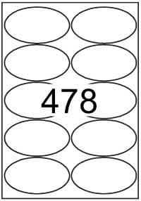 Oval shape labels 100mm x 55mm - White Paper Labels