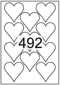 Heart shape labels 70mm x 70mm White Paper Labels