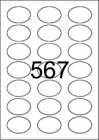 Oval Label 50 mm x 35 mm - White Paper Labels