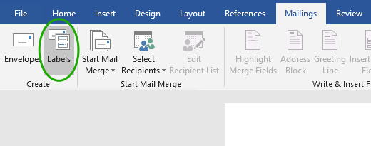 Navigate to the Mailings tab and select Labels